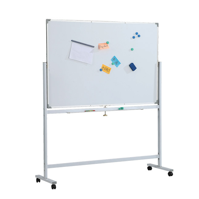 Portable Whiteboard System With Wheels and Magnetic Surface