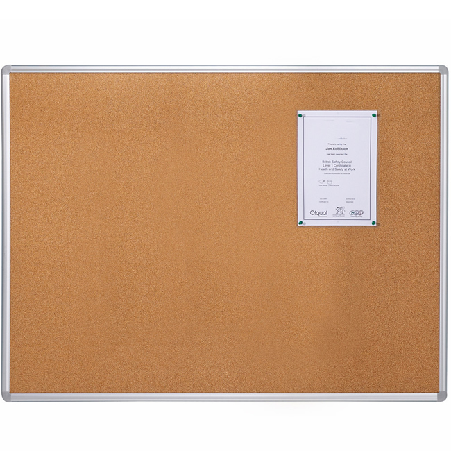 Notice Corkboard with Aluminum Frame and Push Pins for Display