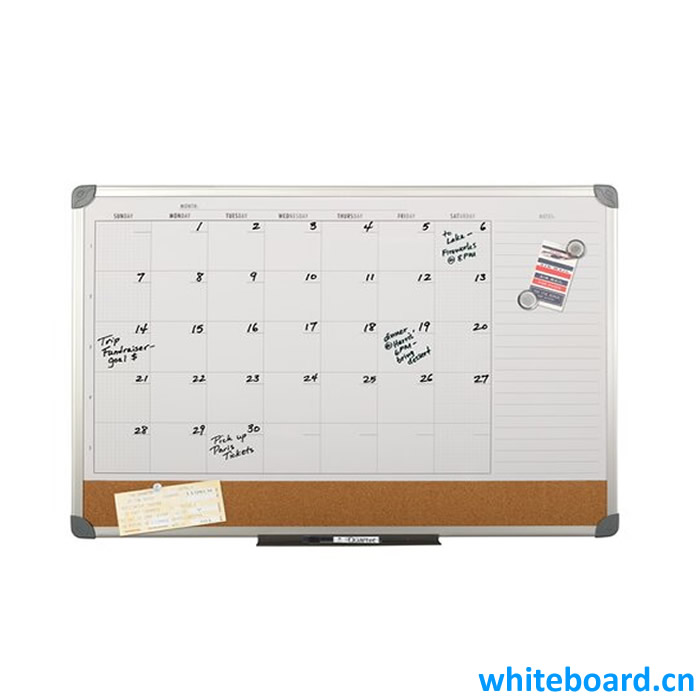 Combination Calendar Whiteboards with Narrow Cork Pin Board