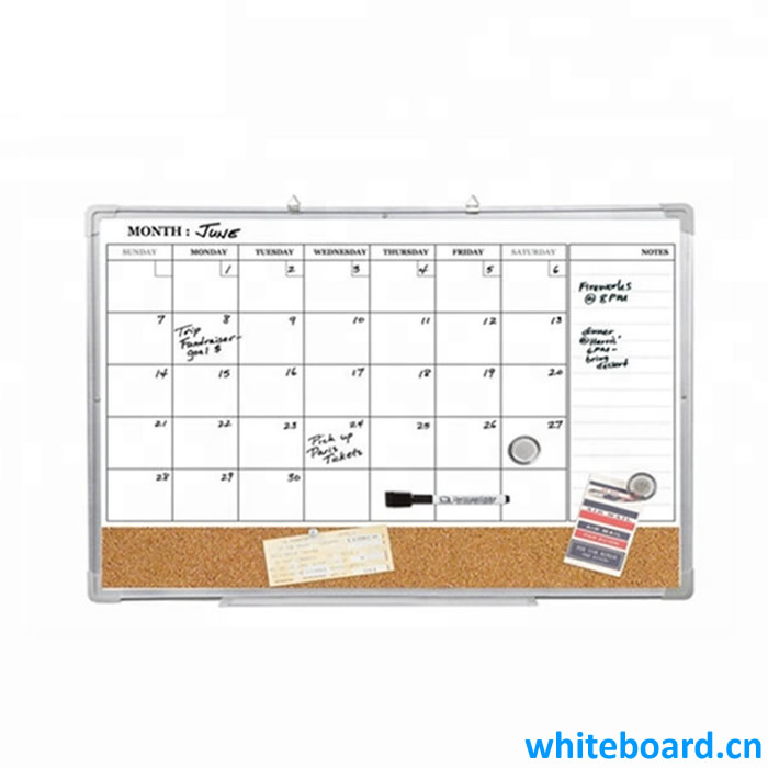Magnetic Calendar Combination Board w Silver Aluminum Frame